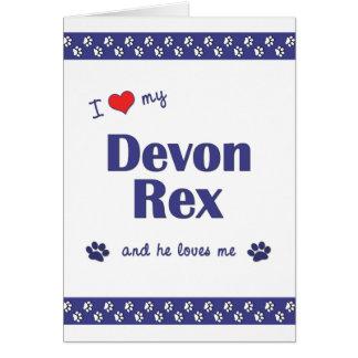 Amo a mi Devon Rex (el gato masculino) Tarjeta Pequeña