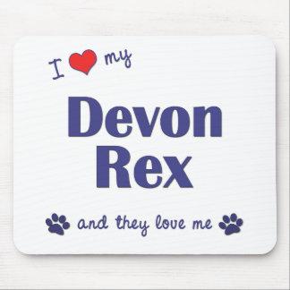 Amo a mi Devon Rex (los gatos múltiples) Alfombrilla De Ratones