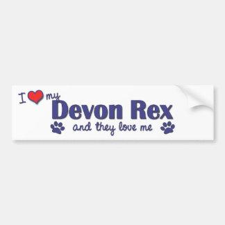 Amo a mi Devon Rex (los gatos múltiples) Pegatina Para Auto