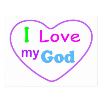 Amo a mi dios con el cristiano del corazón postal