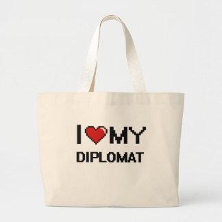 Amo a mi diplomático bolsa tela grande