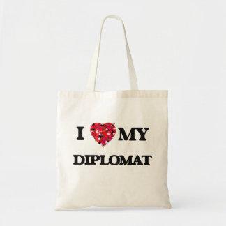 Amo a mi diplomático bolsa tela barata