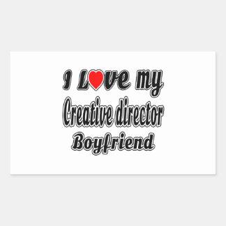 Amo a mi director creativo novio pegatina rectangular