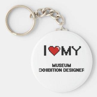 Amo a mi diseñador de la exposición del museo llavero redondo tipo chapa