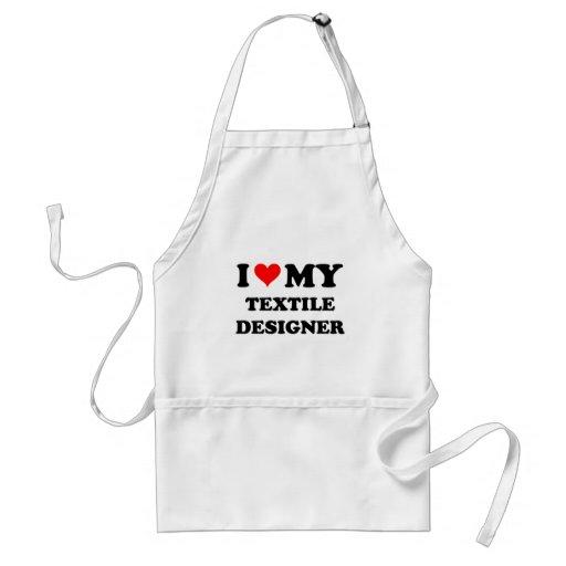 Amo a mi diseñador de la materia textil delantales