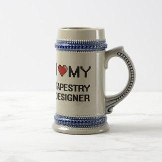 Amo a mi diseñador de la tapicería jarra de cerveza