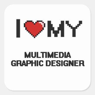 Amo a mi diseñador gráfico de las multimedias pegatina cuadrada