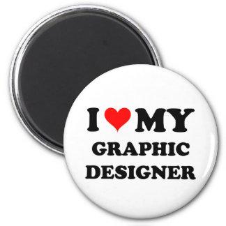 Amo a mi diseñador gráfico imán redondo 5 cm