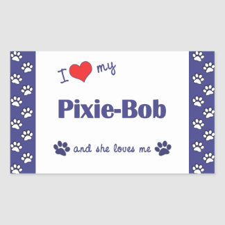 Amo a mi Duendecillo-Bob (el gato femenino) Pegatina Rectangular