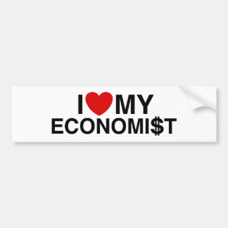 Amo a mi economista etiqueta de parachoque