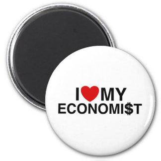 Amo a mi economista imán redondo 5 cm