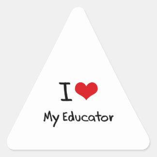 Amo a mi educador pegatina triangular