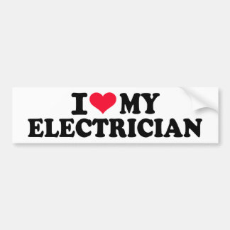Amo a mi electricista pegatina de parachoque