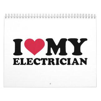 Amo a mi electricista calendario de pared