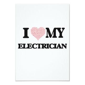 """Amo a mi electricista (el corazón hecho de invitación 3.5"""" x 5"""""""