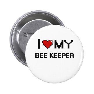 Amo a mi encargado de la abeja pin redondo 5 cm