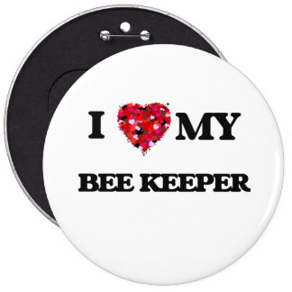 Amo a mi encargado de la abeja pin redondo 15 cm