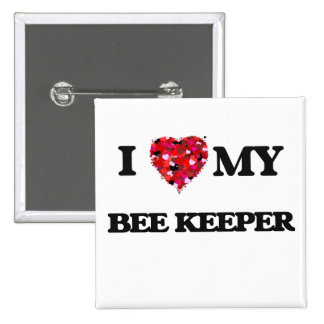Amo a mi encargado de la abeja pin cuadrada 5 cm
