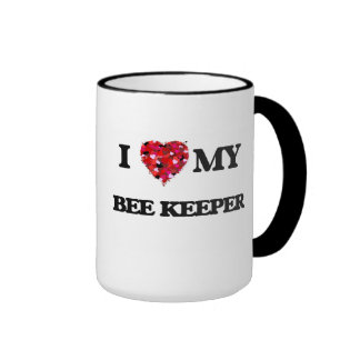 Amo a mi encargado de la abeja taza a dos colores
