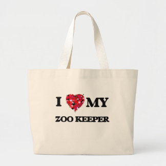 Amo a mi encargado de parque zoológico bolsa tela grande
