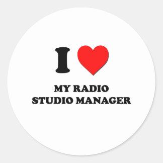 Amo a mi encargado de radio del estudio etiqueta redonda