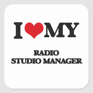 Amo a mi encargado de radio del estudio pegatina cuadradas personalizadas
