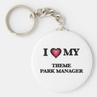 Amo a mi encargado del parque temático llavero redondo tipo pin