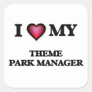 Amo a mi encargado del parque temático pegatina cuadrada
