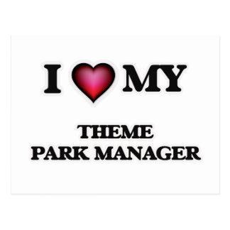 Amo a mi encargado del parque temático tarjeta postal