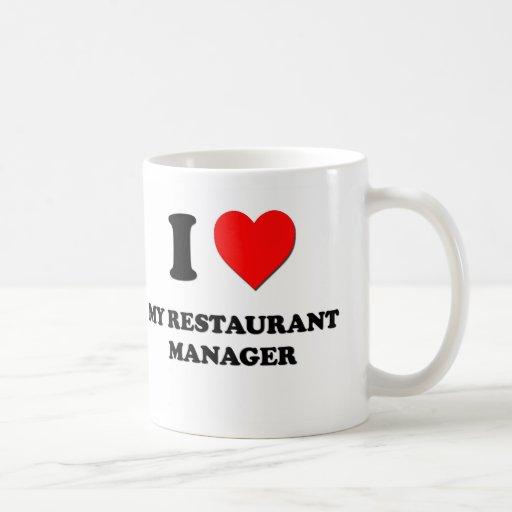 Amo a mi encargado del restaurante tazas de café