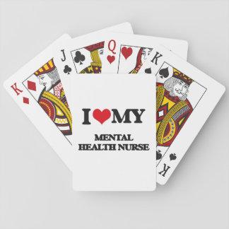 Amo a mi enfermera de salud mental baraja de póquer