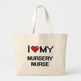 Amo a mi enfermera del cuarto de niños bolsa tela grande