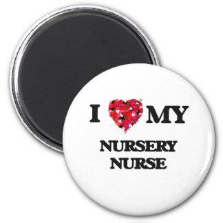 Amo a mi enfermera del cuarto de niños imán redondo 5 cm