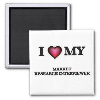 Amo a mi entrevistador del estudio de mercados imán cuadrado