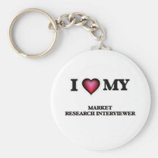 Amo a mi entrevistador del estudio de mercados llavero redondo tipo pin