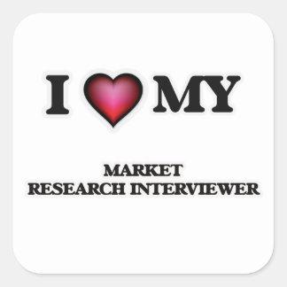 Amo a mi entrevistador del estudio de mercados pegatina cuadrada