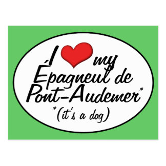 Amo a mi Epagneul de Pont-Audemer (es un perro) Postales