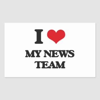 Amo a mi equipo de noticias pegatina rectangular