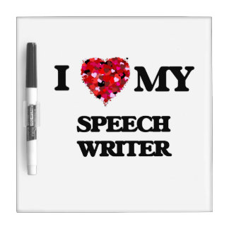 Amo a mi escritor de discurso pizarra blanca