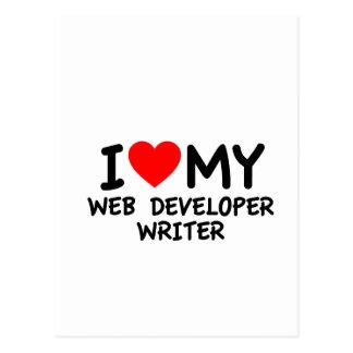 Amo a mi escritor del desarrollador de Web Tarjetas Postales