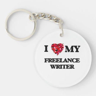 Amo a mi escritor free lance llavero redondo acrílico a una cara