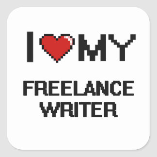 Amo a mi escritor free lance pegatina cuadrada