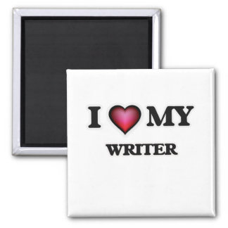 Amo a mi escritor imán cuadrado