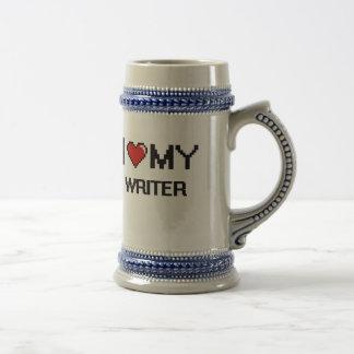 Amo a mi escritor jarra de cerveza