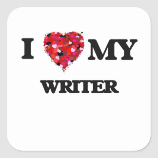 Amo a mi escritor pegatina cuadrada