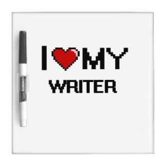 Amo a mi escritor pizarra blanca