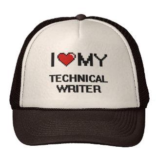 Amo a mi escritor técnico gorro de camionero