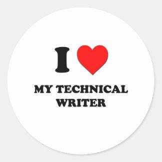 Amo a mi escritor técnico etiqueta redonda