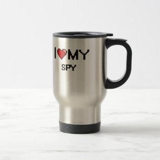 Amo a mi espía taza de viaje de acero inoxidable