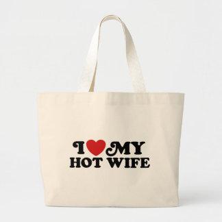 Amo a mi esposa caliente bolsa tela grande